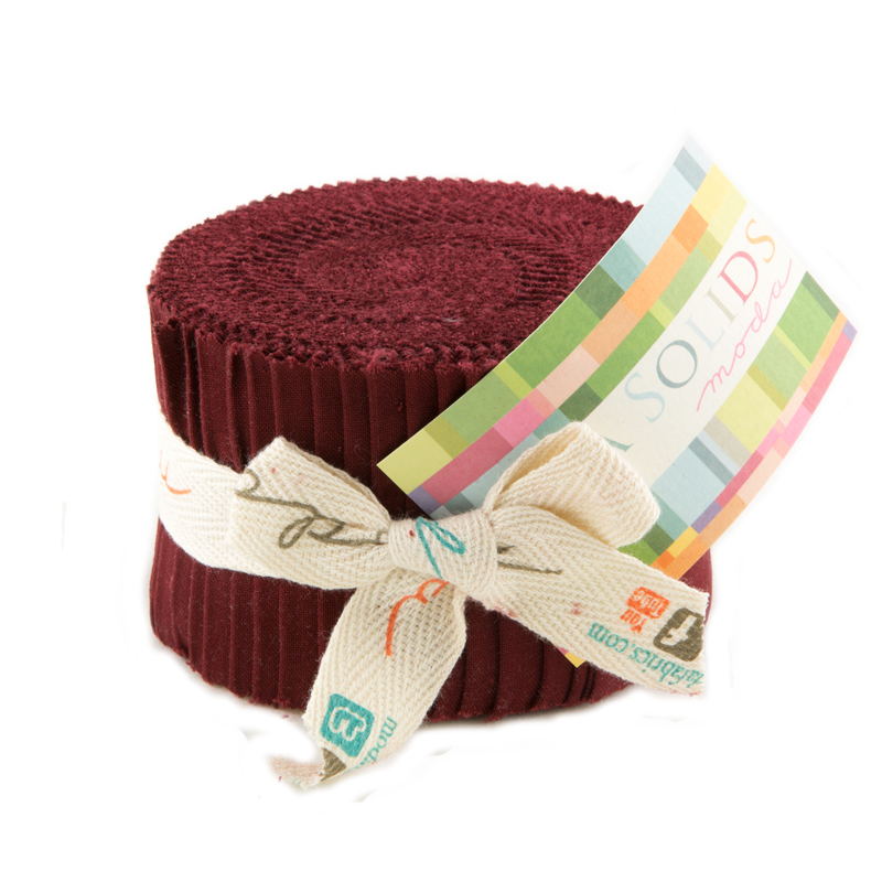Bella Solids Junior Jelly Roll Burgundy