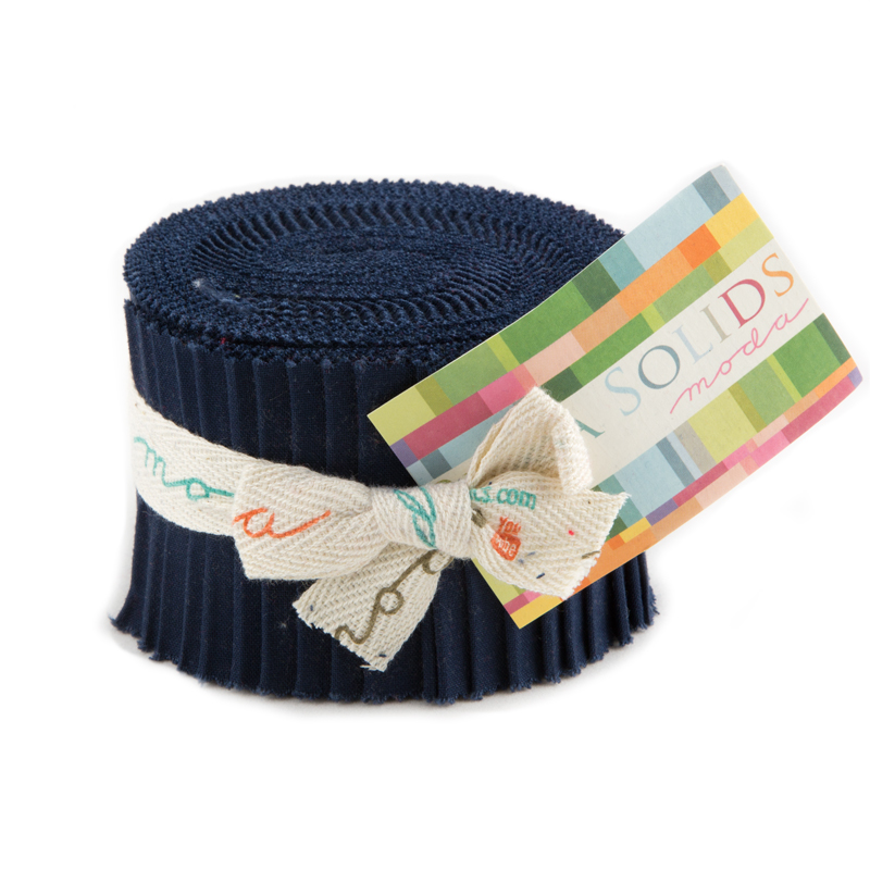 Bella Solids Junior Jelly Roll Navy