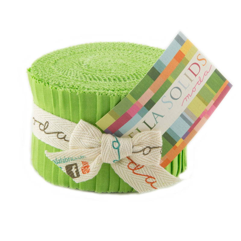 Bella Solids Junior Jelly Roll Lime
