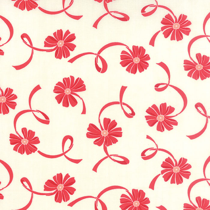 *Hello Darling Cream Red red floral with red ribbon