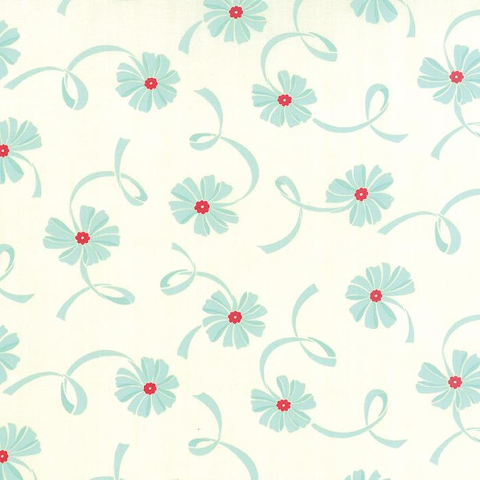 Hello Darling Cream Aqua Flower Ribbons 2/3 yd