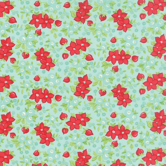 Hello Darling Aqua Floral 7/8 yd