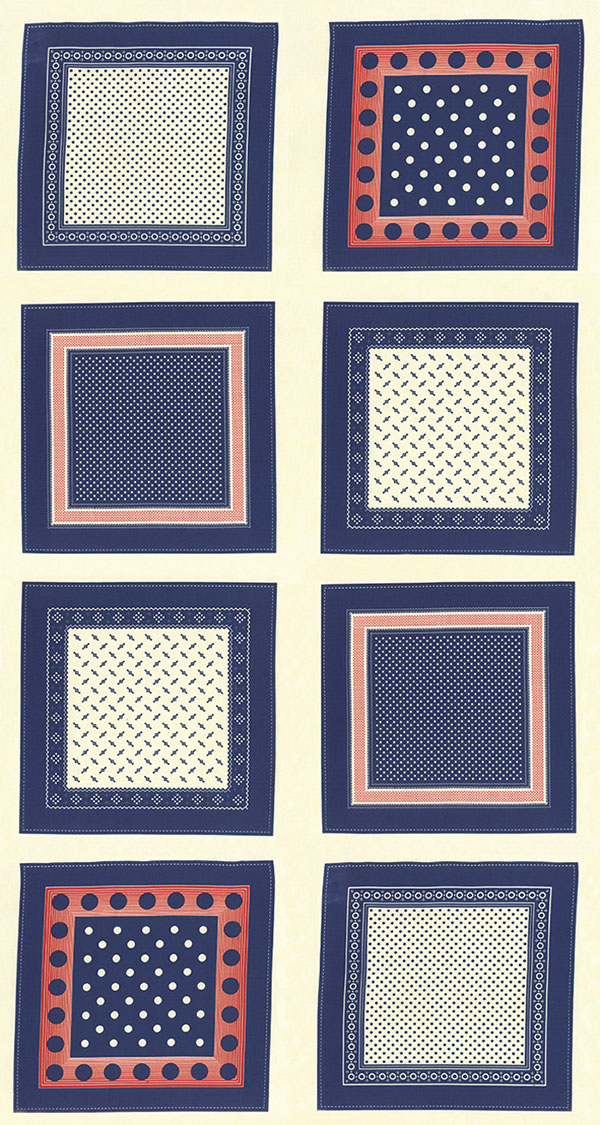EOB - 1 yard 10 - Polka Dots & Paisleys - Cream Blue