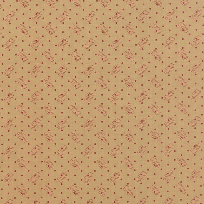 Polka Dots Paisleys Tan Red yardage
