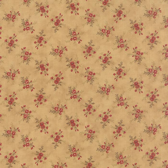 Mille Couleurs Sepia tiny floral on tan