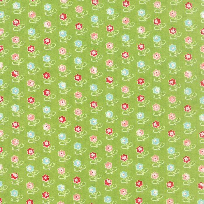 Q - Moda - Vintage Picnic - Green with Multi Flowers