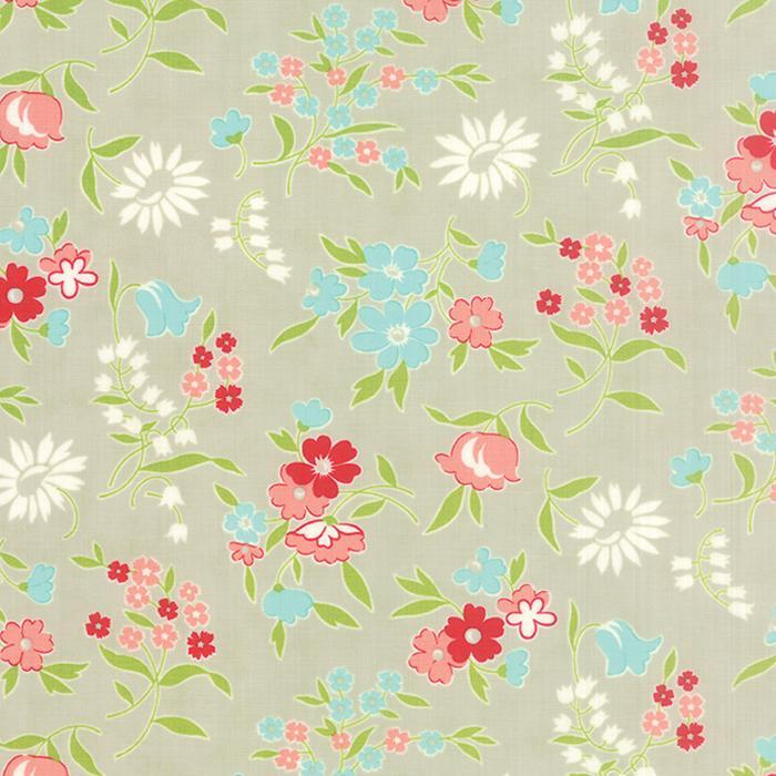 Q - Moda - Vintage Picnic - Gray Floral