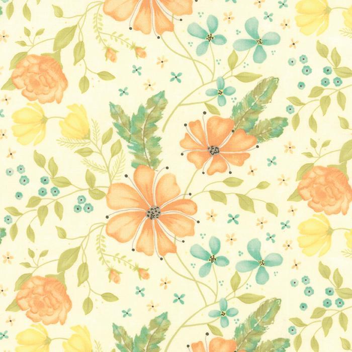 MODA REFRESH LINE COLOR : 17860-16 WHITE BACK BIG FLOWER PRINT
