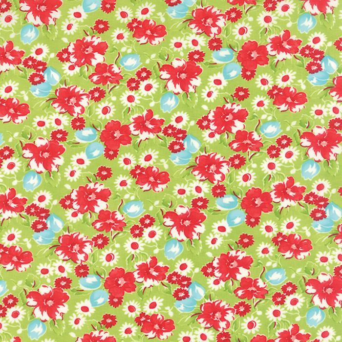 Little Ruby Green Floral 1/2 yd