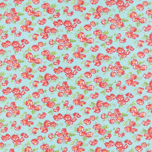 Little Ruby Aqua Daisy 1 yd
