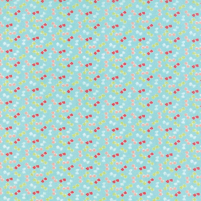 Little Ruby - Flannel Little Bows Aqua by Bonnie & Camille