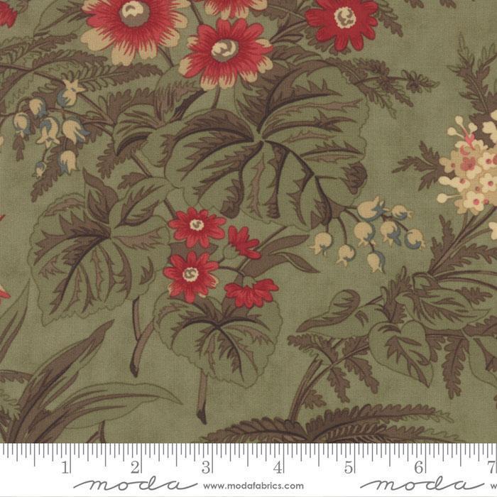 FERN HILL BY JAN PATEK 2180 14 MOSS GREEN WITH LARGE FLOWERS
