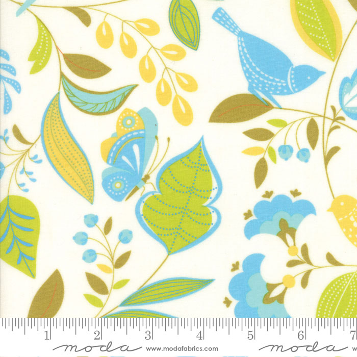 10060 21 Wing Leaf Pond Cloud by Gina Martin for Moda Fabrics. 100% cotton 43 wide