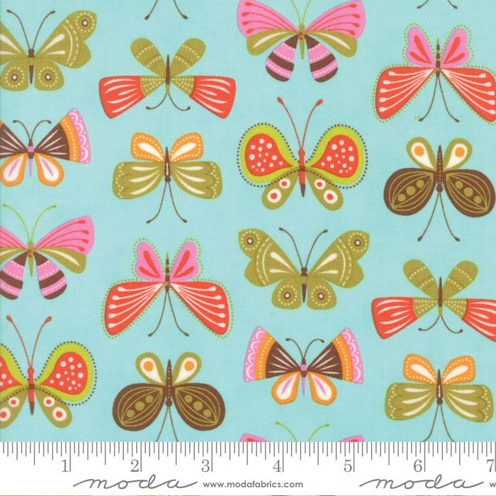 WING AND LEAF BUTTERFLIES ROBINS EGG BLUE 1006214 Moda