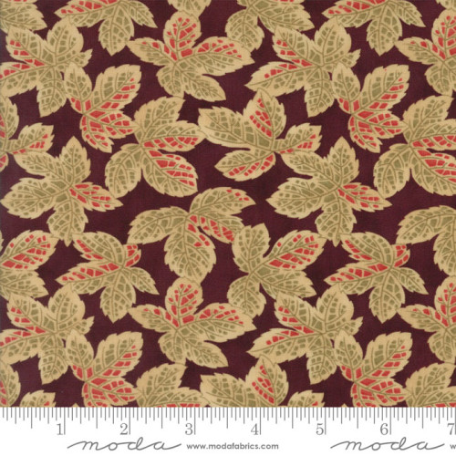 Courtyard Bordeaux Gold Leaves Yardage