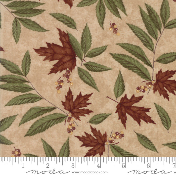 MODA HOLLY TAYLOR COUNTRY ROAD SANDY TAN WITH RUST MAPLE LEAVES 6661 19