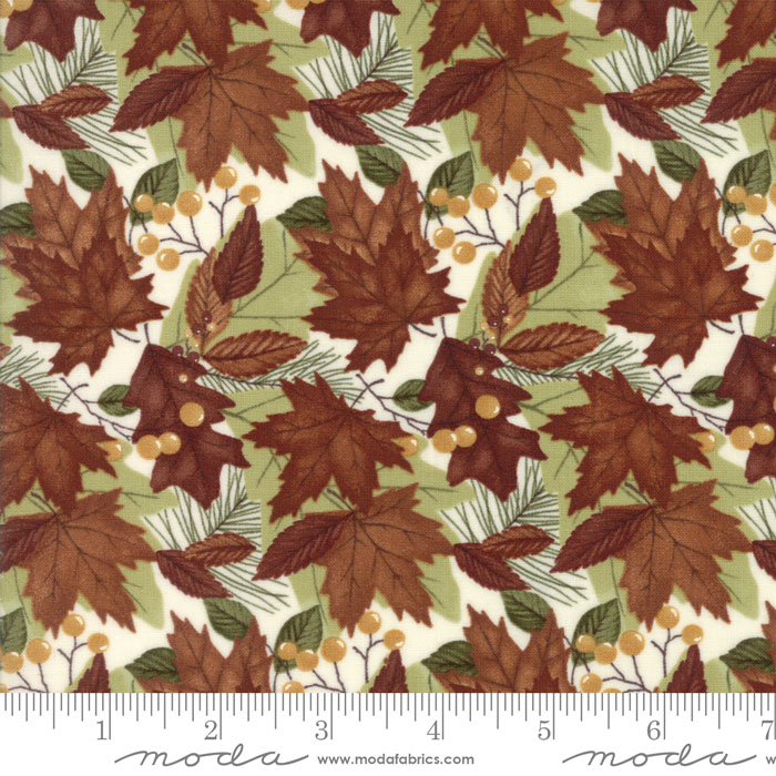 MODA HOLLY TAYLOR COUNTRY ROAD SPRING BUD GREEN BACK WITH MULTI COLORED MAPLE LEAVES AND BERRIES 6662 11