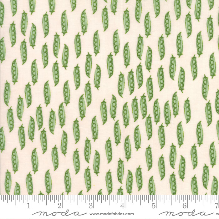 Peas in Pods on White:  Darling Little Dickens by Lydia Nelson for Moda