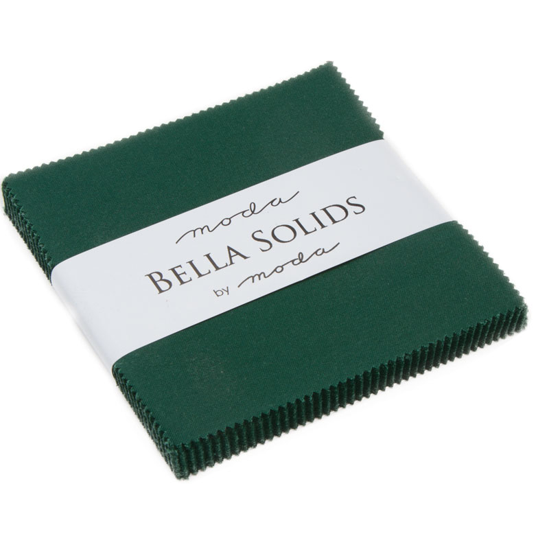 Bella Solids Charm Pack Christmas Green