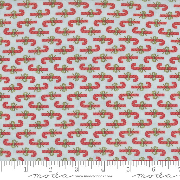 Red Candy Canes on Light Blue:  Snowfall Prints by Minick and Simpson for Moda