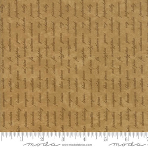 MODA HOLLY TAYLOR FOREVER GREEN BURLAP WITH BROWN WORDS 6693 18