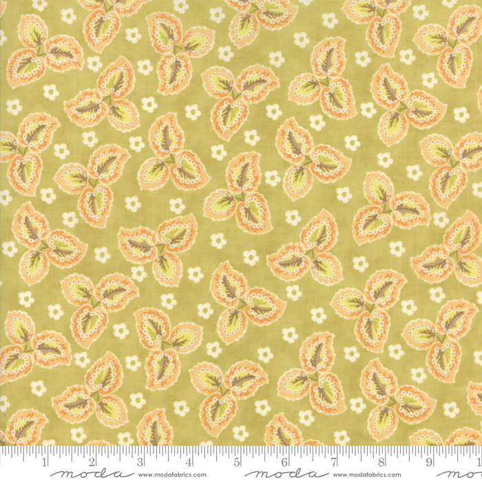 Hazel And Plum Autumn Leaves Citron by Fig Tree Quilts