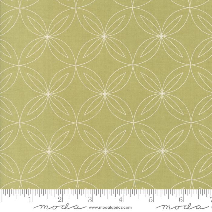 White Geometric Flower Circles on Green:  Thrive - Sassy Green by Natalia and Kathleen for Moda