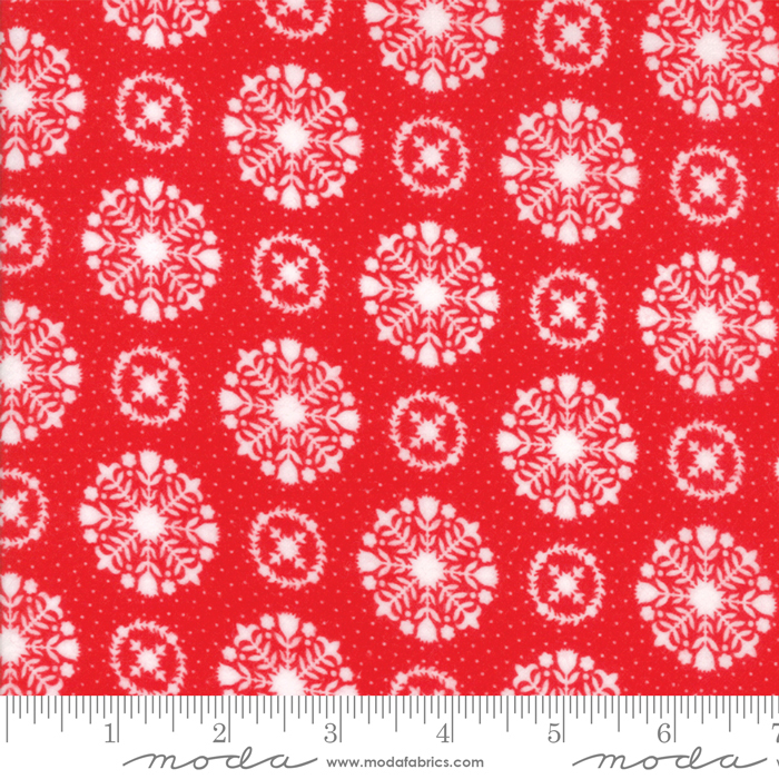 Vintage Holiday FLANNEL - Snowflakes Red