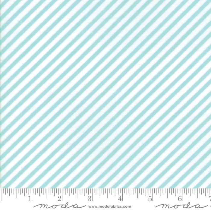 Vintage Holiday Flannel Aqua Diagonal Stripe