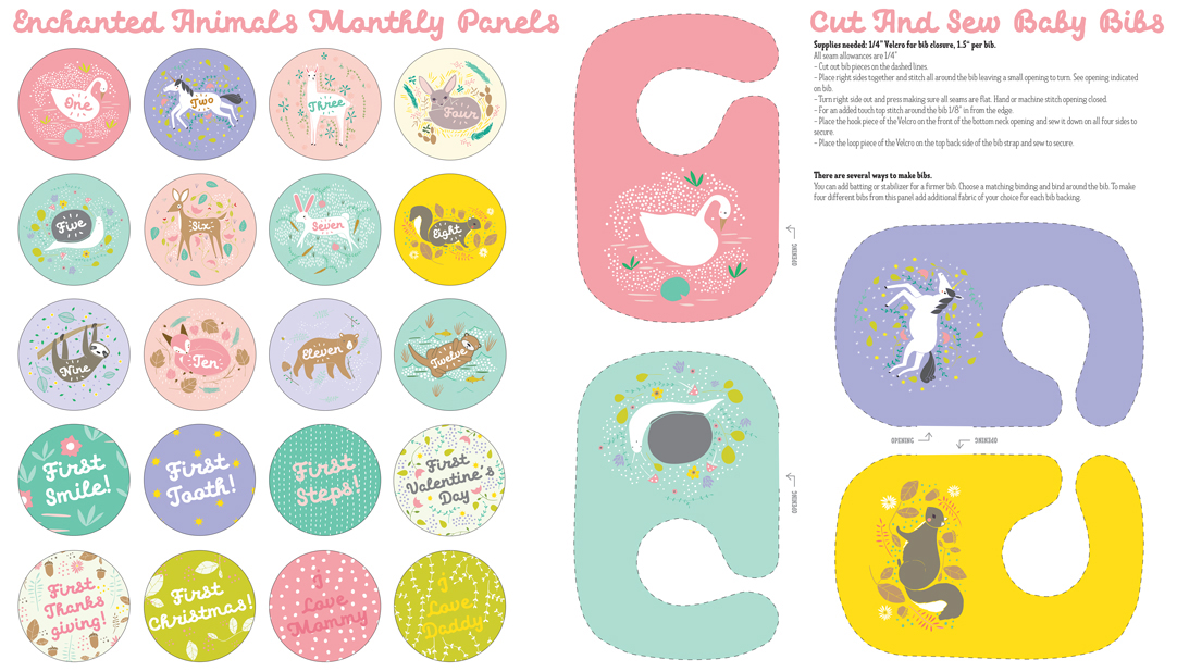 Enchanted Animals Baby Bib Panel Cloud from Moda