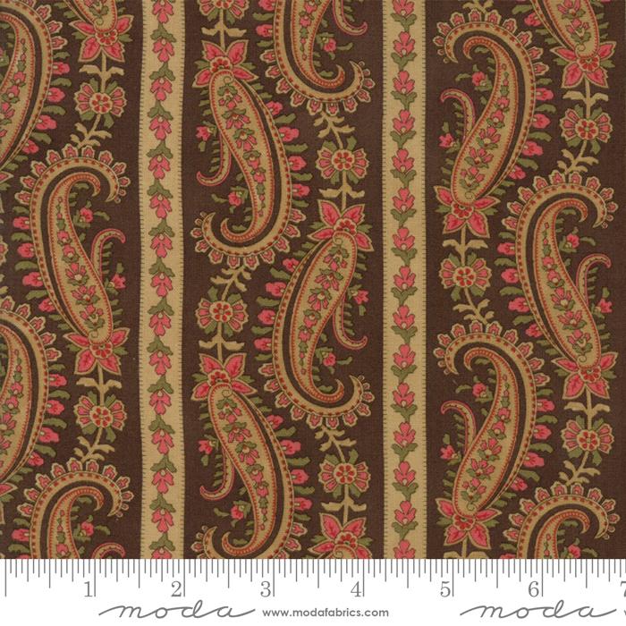 Moda - Rosewood-Floral Paisley Border Stripe/Chocolat - 44183 13