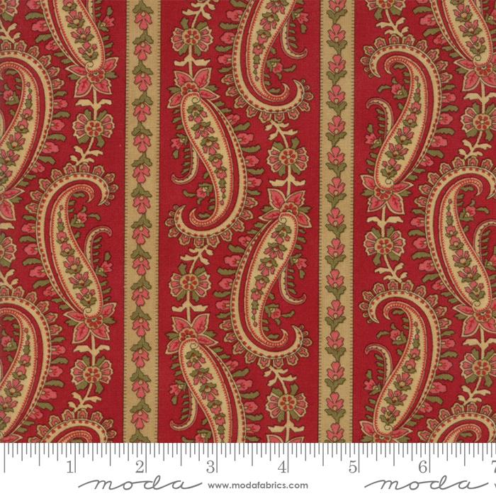 Moda - Rosewood-Floral Paisley Border Stripe-Cherry - 44183 16