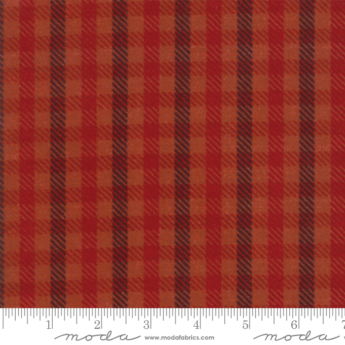 Wool & Needle VI Flannel Salmon Buffalo Check by Primitive Gatherings for Moda 1255-27F