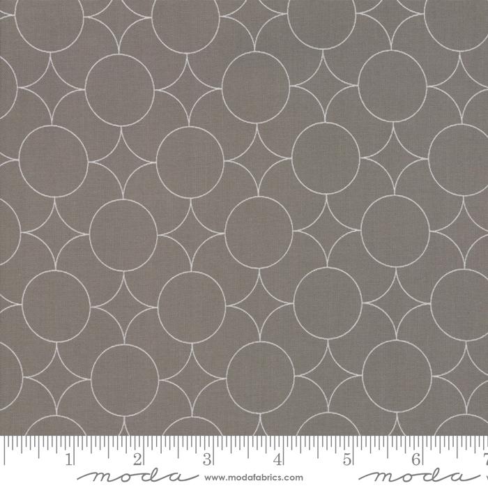 Drawn White Circles Packed on Slate Gray:  Flourish by Natalia & Kathleen for Moda Fabrics