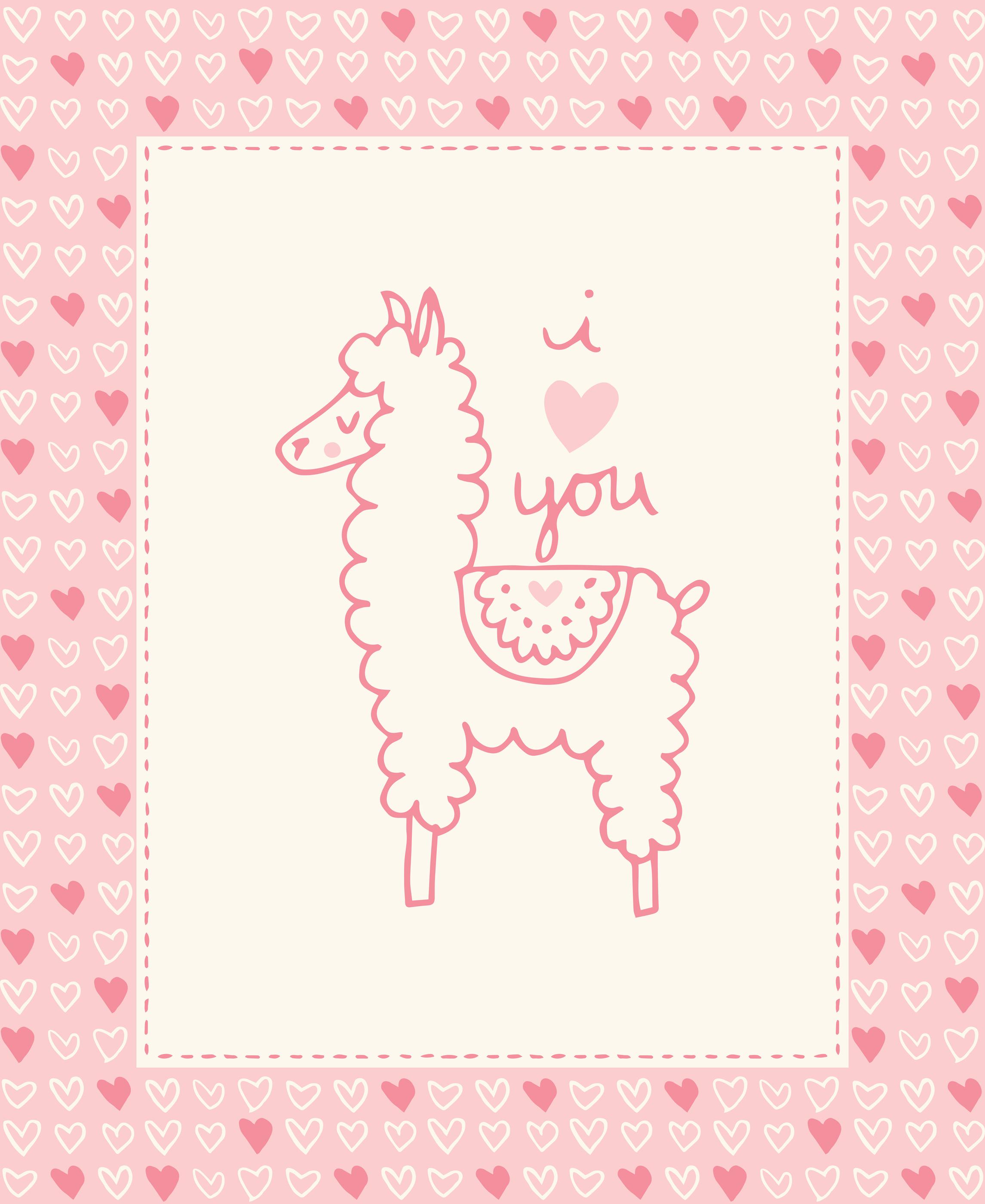 Moda Soft Sweet 36 x 44 Panel Pink Llama