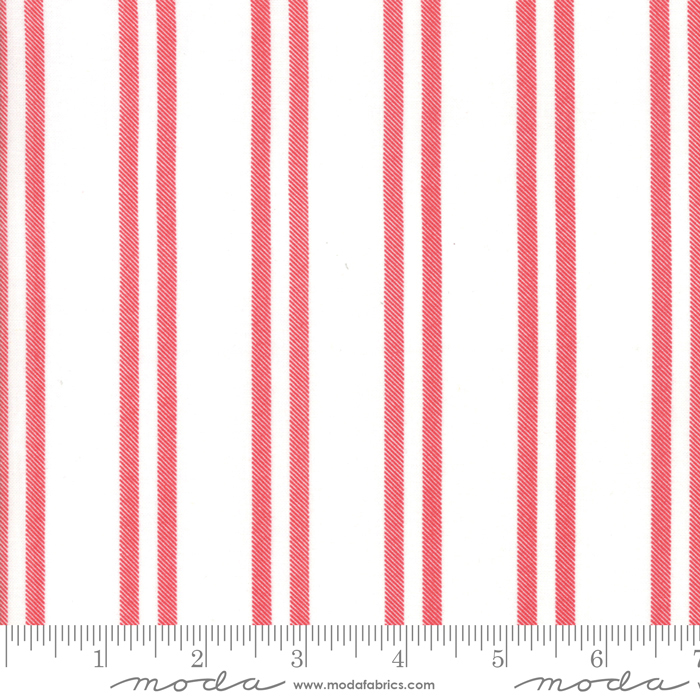 Moda Little Tree Snow & Cranberry Farmhouse Stripe 5096 21