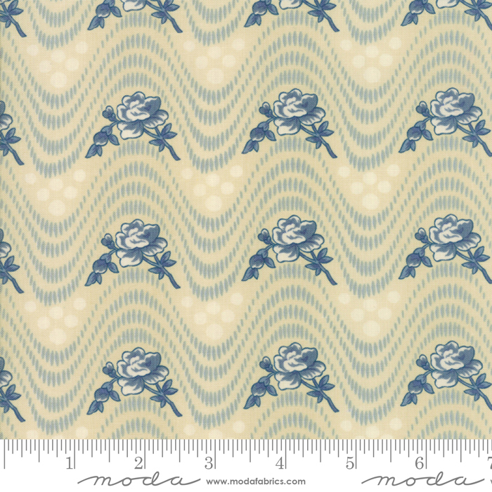 Fabric - Northport Prints Tan Blue
