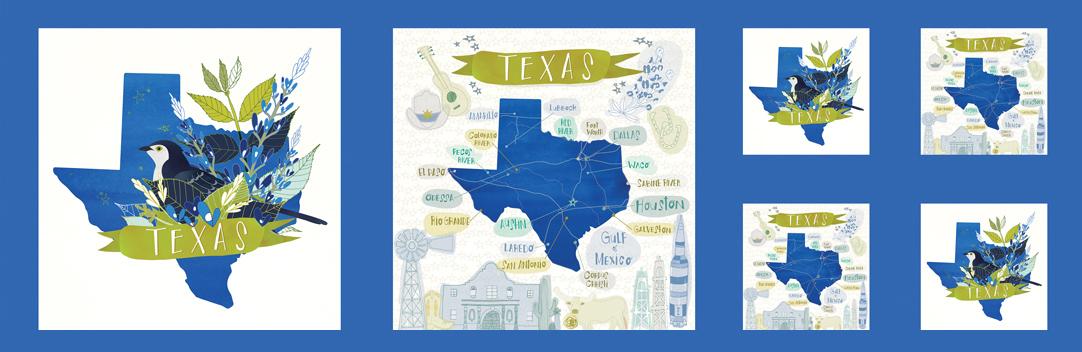 Desert Song Texas Panel Bluebonnet blue