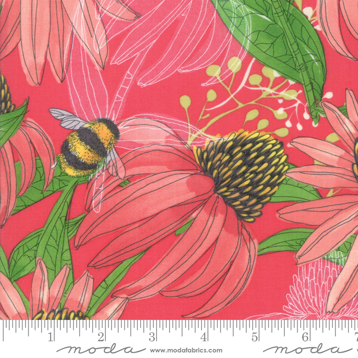 Painted Meadow - Modern Cornflower, Passion Pink - by Robin Pickens for Moda Fabrics