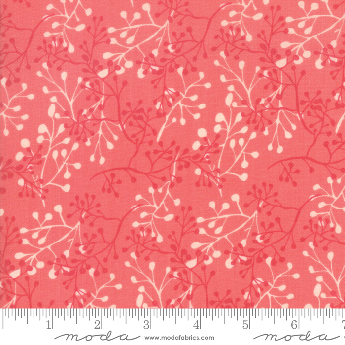 Painted Meadow - Modern Little Sprigs, Coral - by Robin Pickens for Moda Fabrics
