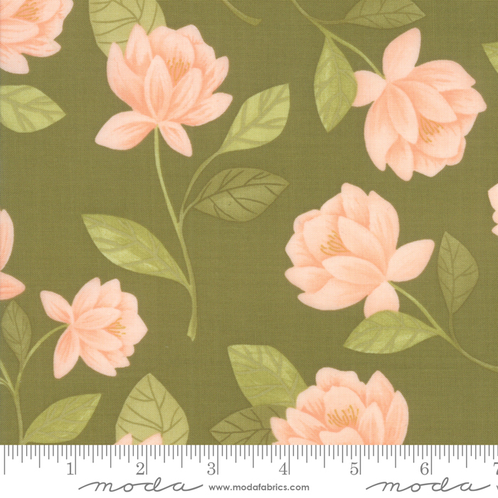 36050 14 Goldenrod Raleigh Floral Olive by One Canoe Two for Moda