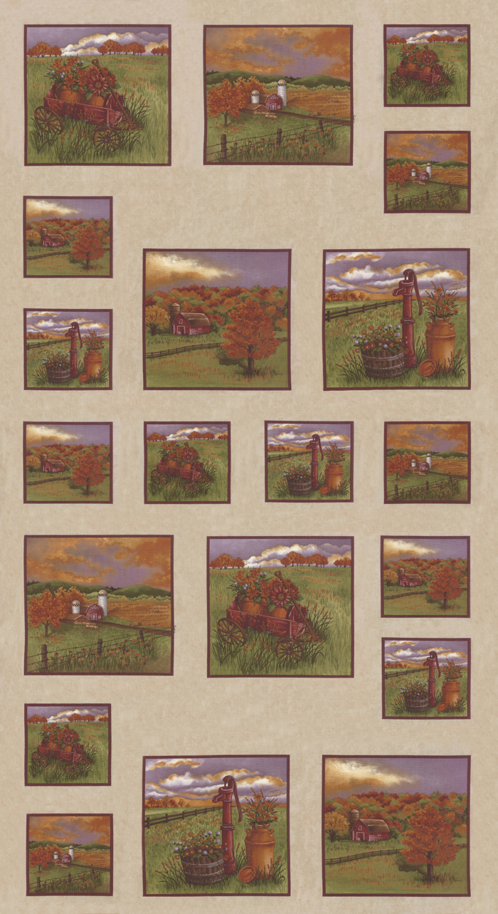 COUNTRY CHARM PANEL WITH OUTDOOR SCENES 6790-12