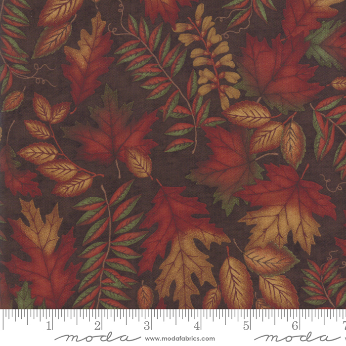 COUNTRY CHARM BARNWOOD BROWN WITH FALL LEAVES 6791-17