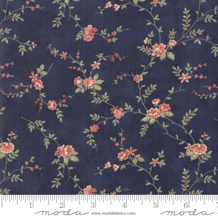 Memoirs Indigo Romantic Blooms by 3 Sisters for Moda 44213-18
