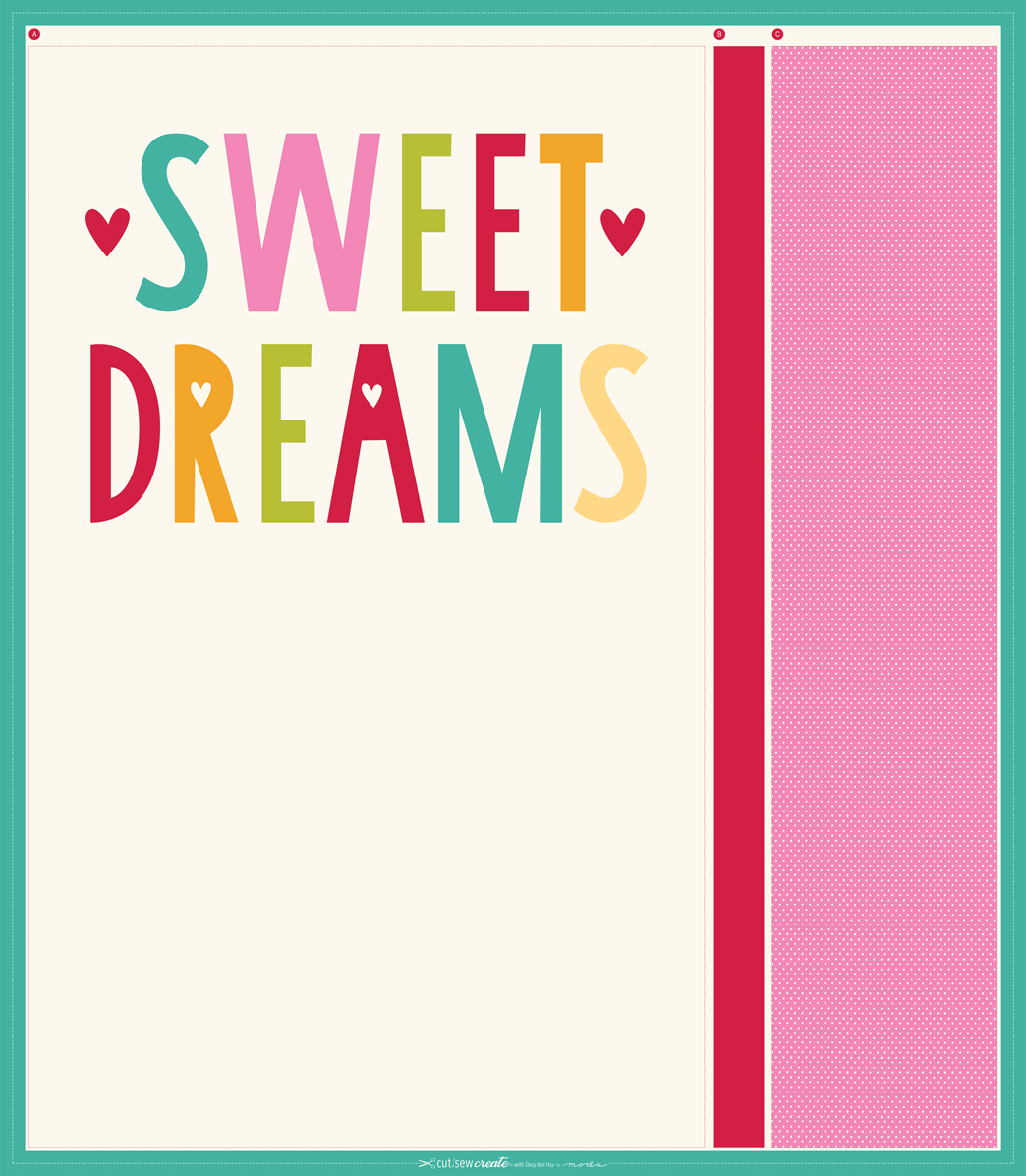 Sweet Dreams Pillow Case Panel from Moda