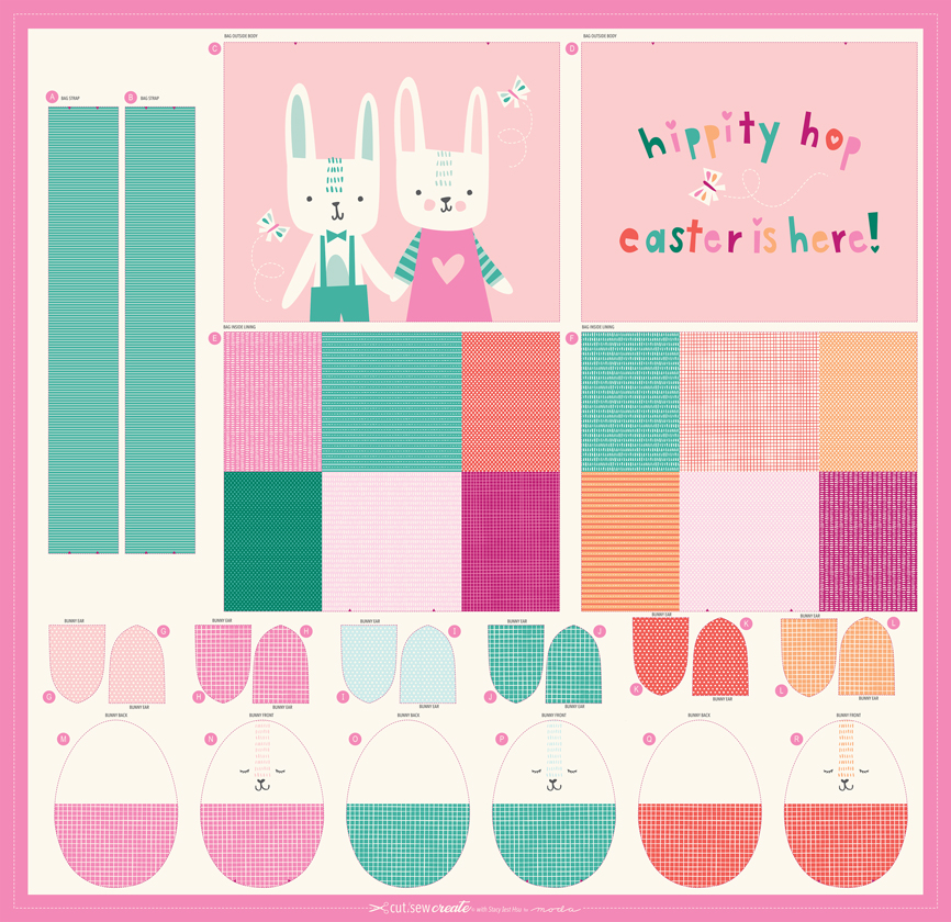 Easter Egg Bag Panel 20660 11P Cut Sew Create by Stacy Iest Hsu