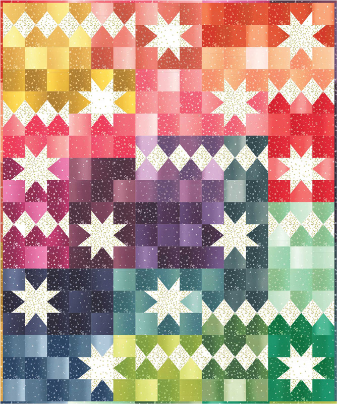 Ombre Bloom Quilt Kit Featuring Ombre Fabrics by V and Co for Moda