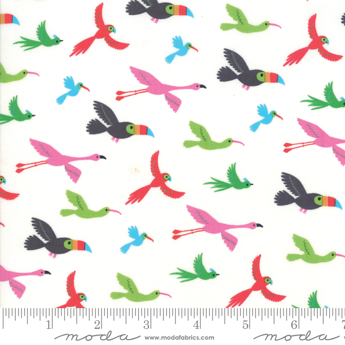 Bicycle Bunch Coconut Flying Tropical Birds Fat Quarter