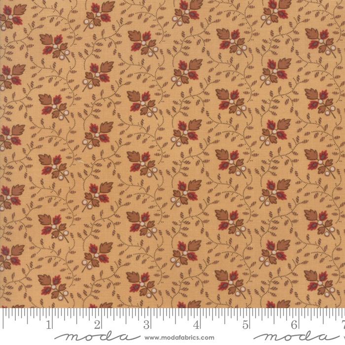 Fabric-Moda Lancaster Lg Floral w/Vines Soft Gold