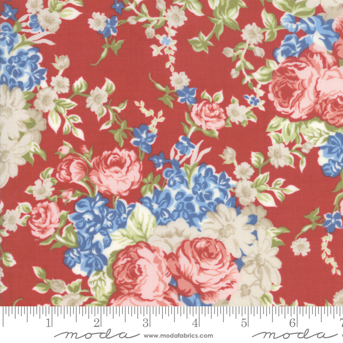 Mackinac Island - Faded Roses, Red - by Minick  Simpson for Moda